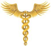 symbol för caduceusguldläkarundersökning Arkivfoton