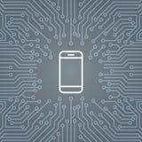 Symbol för cellSmart telefon över datoren Chip Moterboard Background Banner royaltyfri illustrationer