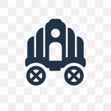 Symbol för Cinderella vagnsvektor som isoleras på genomskinlig backgrou stock illustrationer