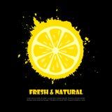 Symbol för citronjuicefärgstänkvektor stock illustrationer
