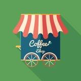 Symbol för coffee shoplägenhetfyrkant med långa skuggor Fotografering för Bildbyråer