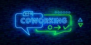 Symbol för Coworking neonljus kontorsarbete _ Kollegor som arbetar med bärbara datorer Glödande tecken med nummer och symboler Ve vektor illustrationer