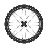 Symbol för cykelmtbhjul, vektor Cykla gummi, bergdäck med ventilen Konditioncirkulering, mountainbike royaltyfri illustrationer