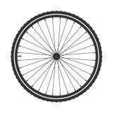 Symbol för cykelmtbhjul, vektor Cykla gummi, bergdäck med ventilen Konditioncirkulering, mountainbike vektor illustrationer