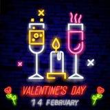 Symbol för dag för valentin s Neontecken, ljust baner, nattwhiteboard Annonsera för dag för valentin s, designmall för royaltyfria foton