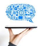 Symbol för data för internet för affärsmolnkommunikationer Royaltyfri Fotografi