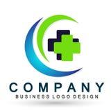 Symbol för design för logo för omsorg för liv för folk för kors för medicinsk hälsovård för jordklot sund på vit bakgrund stock illustrationer