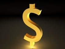symbol för dollar för valuta 3d guld- Royaltyfri Foto