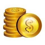 Symbol för dollarpengarguld royaltyfri illustrationer