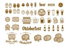 Symbol för drink för öletikett- och logovektor Royaltyfri Fotografi