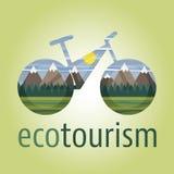 Symbol för Eco turismvektor och logocykel Royaltyfri Bild