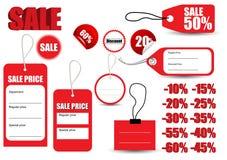 Symbol för etikett för mallförsäljning rött Royaltyfria Bilder