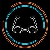 symbol för exponeringsglas 3d - vektorfilmbio royaltyfri illustrationer