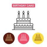 Symbol för födelsedagkaka på vit bakgrund vektor illustrationer