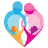 symbol för familjhjärtaförälskelse Arkivfoton