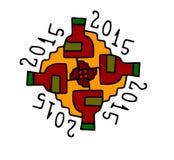 symbol för 2015 festligheter på vit bakgrund Arkivbild