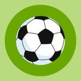 Symbol för fotbollboll Vit-svart fotbollboll på en gräsplan och en röd bakgrund den färga utrustningillustrationen skidar sportva Arkivbild