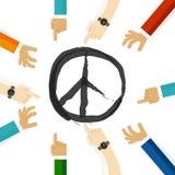 Symbol för fredkonfliktupplösning av internationellt samarbete för försök tillsammans i gemenskap och tolerans stock illustrationer