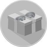 Symbol för gåvaask skuggor av den gråa symbolen Royaltyfri Bild