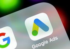 Symbol för Google annonsAdWords applikation på närbild för skärm för Apple iPhone X Den Google annonsen uttrycker symbolen Google fotografering för bildbyråer