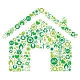 symbol för grönt hus Arkivfoton