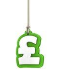 Symbol för grönt pund som isoleras på vit bakgrund som hänger på rep Royaltyfria Bilder