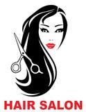 Symbol för hårsalong med kvinnaframsidan