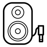 Symbol för högtalare för musikkolonn ljudsignal Stereo- kolonn för bio för solitt system för musik Royaltyfri Fotografi