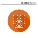 Symbol för högtalare för musikkolonn ljudsignal Stereo- kolonn för bio för solitt system för musik Linje partibeståndsdelsymbol L Royaltyfria Bilder