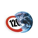 Symbol för hastighetsbegränsning och jord, (den digitala komposit) Royaltyfria Bilder