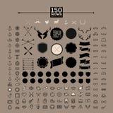 symbol för 150 hipster, etikett, emblem, klistermärke Arkivbild
