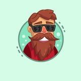 Symbol för Hipsterskäggprofil Royaltyfria Foton