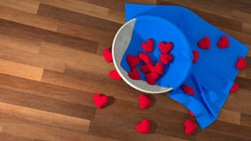 Symbol för hjärta för dag för valentin` s i en vit kruka på den wood tabellen Royaltyfria Foton