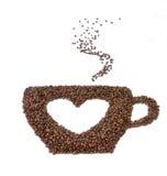 symbol för hjärta för kaffekopp stort Arkivbilder