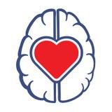 Symbol för hjärta och för mänsklig hjärna Arkivbilder