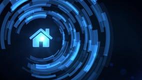 Symbol för hus för hem för projektion för hud för hologram för hand för affärsman royaltyfri illustrationer
