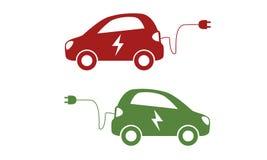 Symbol för hybrid- medel Elbil med laddande kabel för elkraft stock illustrationer