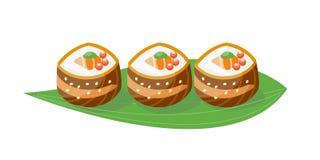 Symbol för japansk för kokkonst för sushi sund gourmet- traditionell lägenhet för mat och orientalisk kultur för platta för resta vektor illustrationer