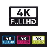 symbol för 4k FullHD - färgrik vektorillustration - som isoleras på svartvit bakgrund royaltyfri illustrationer