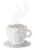 Symbol för kaffekopp som göras av ord Royaltyfri Foto