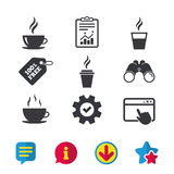 Symbol för kaffekopp Varma drinkexponeringsglassymboler Arkivfoton