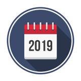 Symbol för 2019 kalender vektor illustrationer