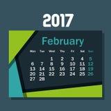 Symbol för kalenderfebruari 2017 mall Arkivfoton