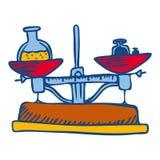 Symbol för kemijämviktshjälpmedel, utdragen stil för hand vektor illustrationer