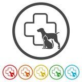 Symbol för klinik för husdjur för hund- och kattkonturcirkel veterinär-, vektorillustration stock illustrationer