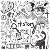 Symbol för klotter för handskrift för historieutbildningsämne vektor illustrationer