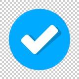 Symbol för kontrollfläck i plan stil Ok på, acceptera vektorillustrationen vektor illustrationer