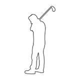 Symbol för kontur för golfspelare Arkivfoton