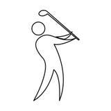 Symbol för kontur för golfspelare Royaltyfri Fotografi