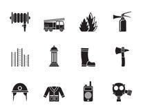 Symbol för konturbrandkår- och brandmanutrustning vektor illustrationer